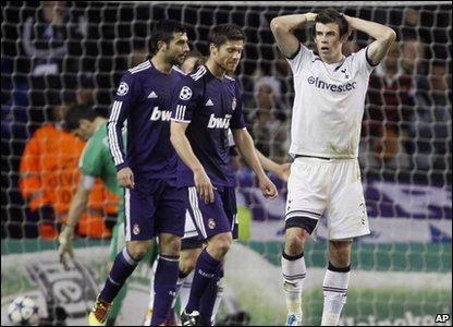 Tottenham Hotspur player Gareth Bale reacts to being told his goal was not allowed at the Champions League quarter-finals at White Hart Lane