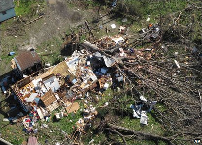 Tornadoes rip through America - flattened home in Gloucester, Virginia