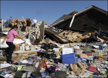 Tornadoes rip through America - what remains of a backyard in North Carolina