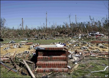 Tornadoes rip through America - steps of a house remain in North Carolina