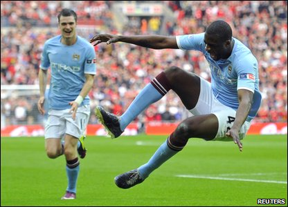 FA Cup - Manchester City 1-0 Manchester United - Yaya Toure celebrates his winning goal