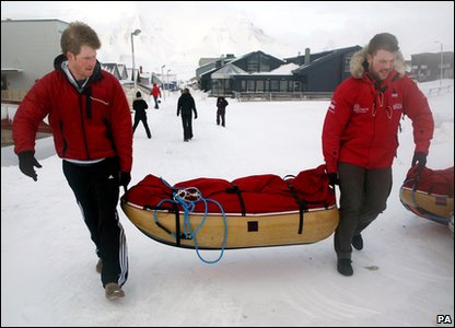 Prince Harry and ex-soldier Martin Hewitt depart for the airport to begin their North Pole trek