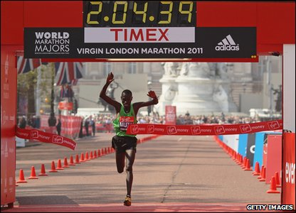 London Marathon winner Emmanuel Mutai  from Kenya