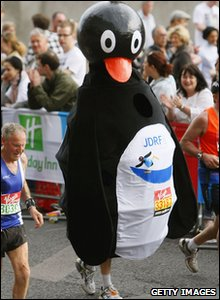 London Marathon runner dressed up as a penguin
