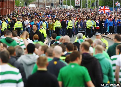 Rangers 0-0 Celtic - police officers and fans