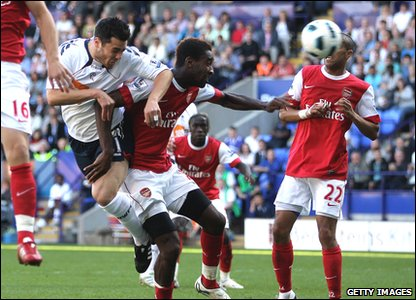 Bolton 2-1 Arsenal - Bolton's Tamir Cohen scores a late goal with a header
