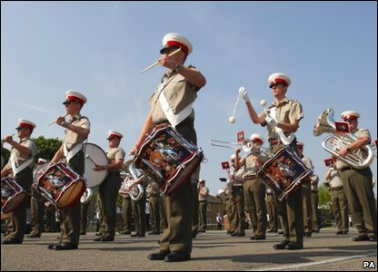 The Band of the Royal Marines during rehearsals for the royal wedding, at HMS Collingwood in Fareham, Hampshire.