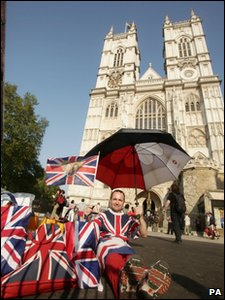 Royal fan John Loughrey becomes the first person to camp on the streets of London outside Westminster Abbey to wait for the start of the royal wedding on 29 April 2011.