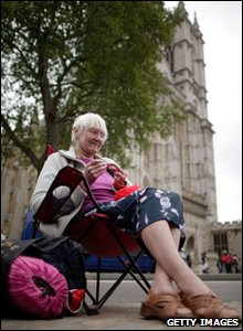 Royal fan and knitter Guen Murray from Norfolk, aged 76, is the second person to start to camp out on the streets to wait for the start of the royal wedding on 26 April 2011.