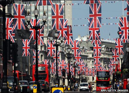 British Union Jack flags hang along Regent Street in London, ahead of the royal wedding of Prince William and Kate Middleton