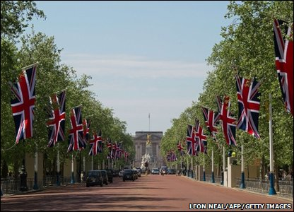 Union flags line the Mall in London ahead of the royal wedding
