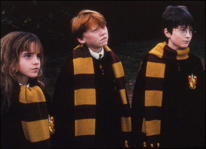Emma Watson as Hermione Granger, Rupert Grint as Ron Weasley and Daniel Radcliffe as Harry Potter, in Harry Potter and the Philosopher's Stone