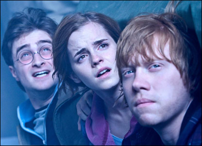 Daniel Radcliffe as Harry Potter, Emma Watson as Hermione Granger and Rupert Grint as Ron Weasley in Harry Potter and the Deathly Hallows - Part 2
