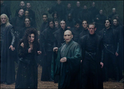 L-R: Jason Isaacs as Lucius Malfoy, Helena Bonham Carter as Bellatrix Lestrange and Ralph Fiennes as Lord Voldemort in Harry Potter and the Deathly Hallows - Part 2