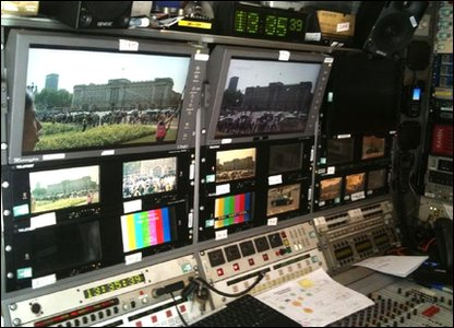 Internal shot of a BBC broadcast truck