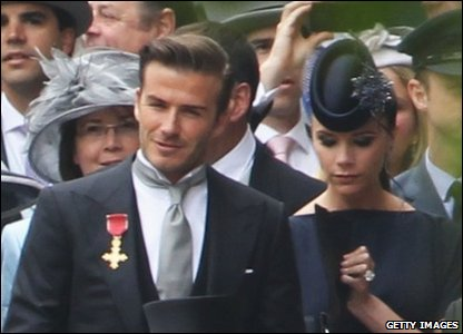 David and Victoria Beckham arrive