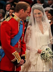 Prince William and Kate Middleton at the altar