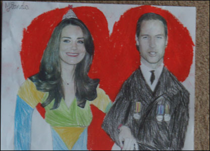 Miranda's drawing of Duke and Duchess of Cambridge