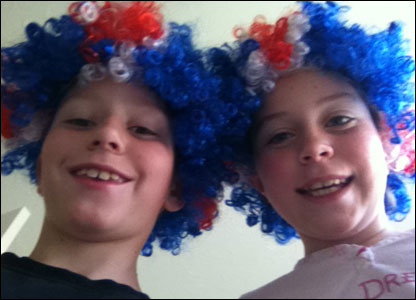 Connor and Kara aged 9 and 12 are celebrating in style with these crazy wigs!