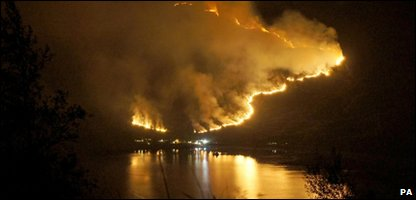 A general view of heath fires in Kintail, Scotland