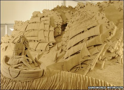 Boat sand sculpture