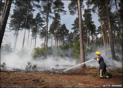 A firefighter damps down smoldering undergrowth in Swinley Forest
