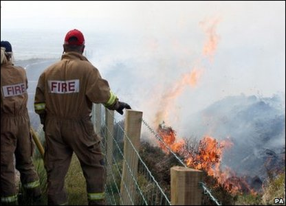 Emergency services across Britain are trying to put out a number of fires.