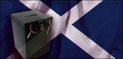 Ballot box on a Scottish Saltire flag