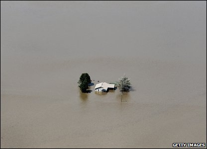 A house in the middle of floodwater in Missouri in America