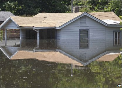 House in flooded area of Memphis in America