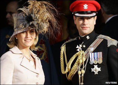 Seventh in line: Prince Edward, the Earl of Wessex (born 1964) - the Queen's youngest son. Here he is with his wife Sophie, the Countess of Wessex.