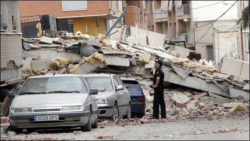 Earthquake damage in Lorca in Spain