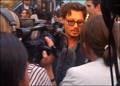 Johnny Depp in a crowd of fans