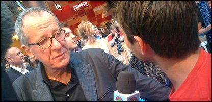 Geoffrey Rush chatting to Ricky
