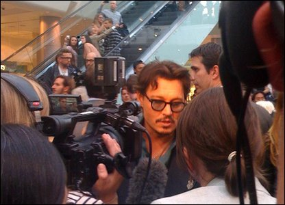 Johnny Depp in the crowds at the Pirates of the Caribben premiere
