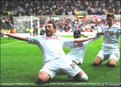 Stephen Dobbie celebrates scoring for Swansea City