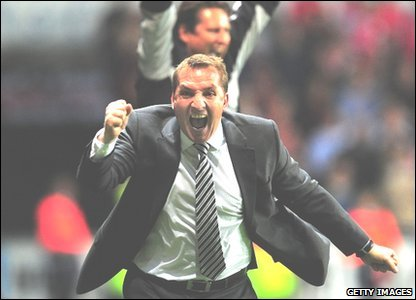 Swansea manager Brendan Rodgers celebrates the third goal