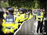 Irish police officers line barricades in Dublin