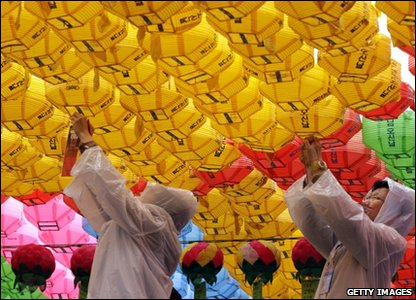 In South Korea, Buddhist devotees put up strings of lanterns in preparation for the birthday celebrations.