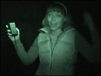 Leah hunting for bats at night