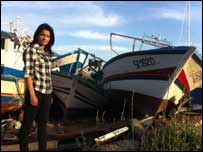 Sonali at the boat cemetery in Lampedusa