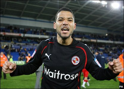 Reading's Jobi McAnuff celebrates after the final whistle