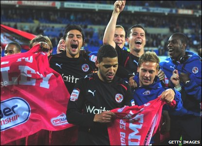 Reading players celebrate victory
