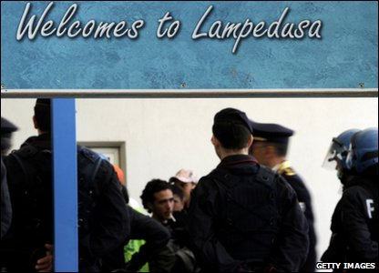 People arrive at Lampedusa