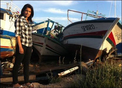 Sonali at the place where boats are dumped