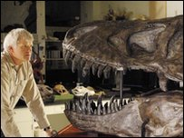 Prof Philip Currie and a T Rex skull