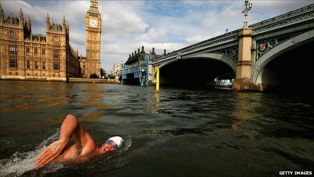 A man swimming in the River Thames