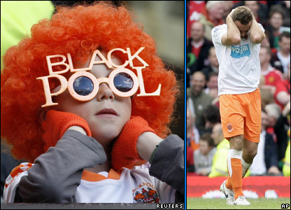 A Blackpool fan, and Blackpool player Ian Evatt reacts after scoring an own goal against Manchester United at Old Trafford
