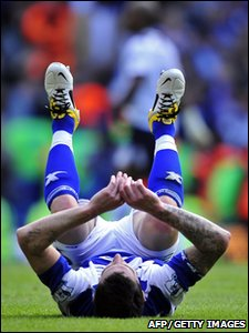 Birmingham City defender Liam Ridgewell shows his disappointment after their 2-1 defeat in the Premier League against Tottenham Hotspur, at White Hart Lane