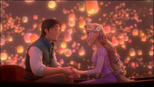 Flynn and Rapunzel in a still from Disney's Tangled
